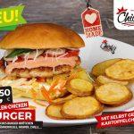 Limited Edition: Der Surf'n Turf Burger! Chickis Garnelen Chicken Burger