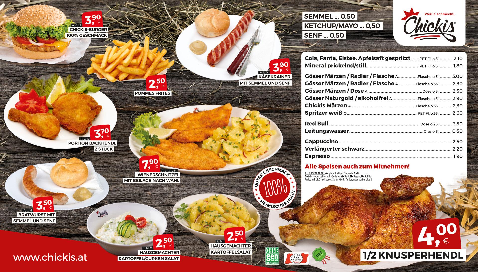 Chickis Lienz Sortiment Speisen und Getränke